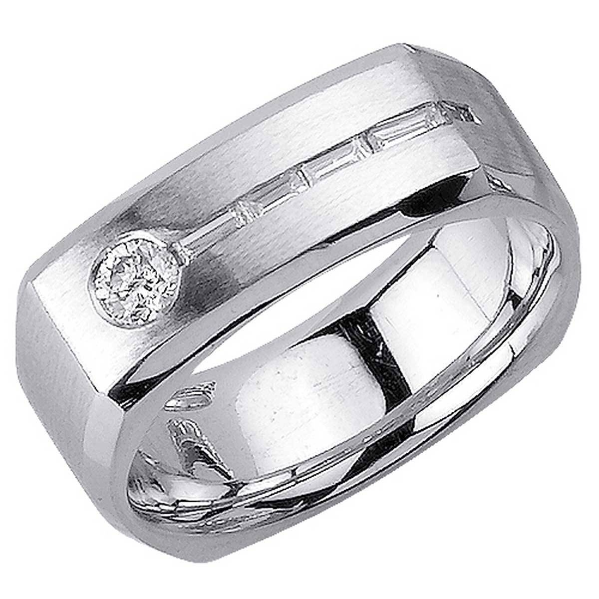 55Ct Tcw 14K White Gold Flat Unique Band 8Mm  3002492 – Shop At With Newest Mens Flat Wedding Bands (View 2 of 15)