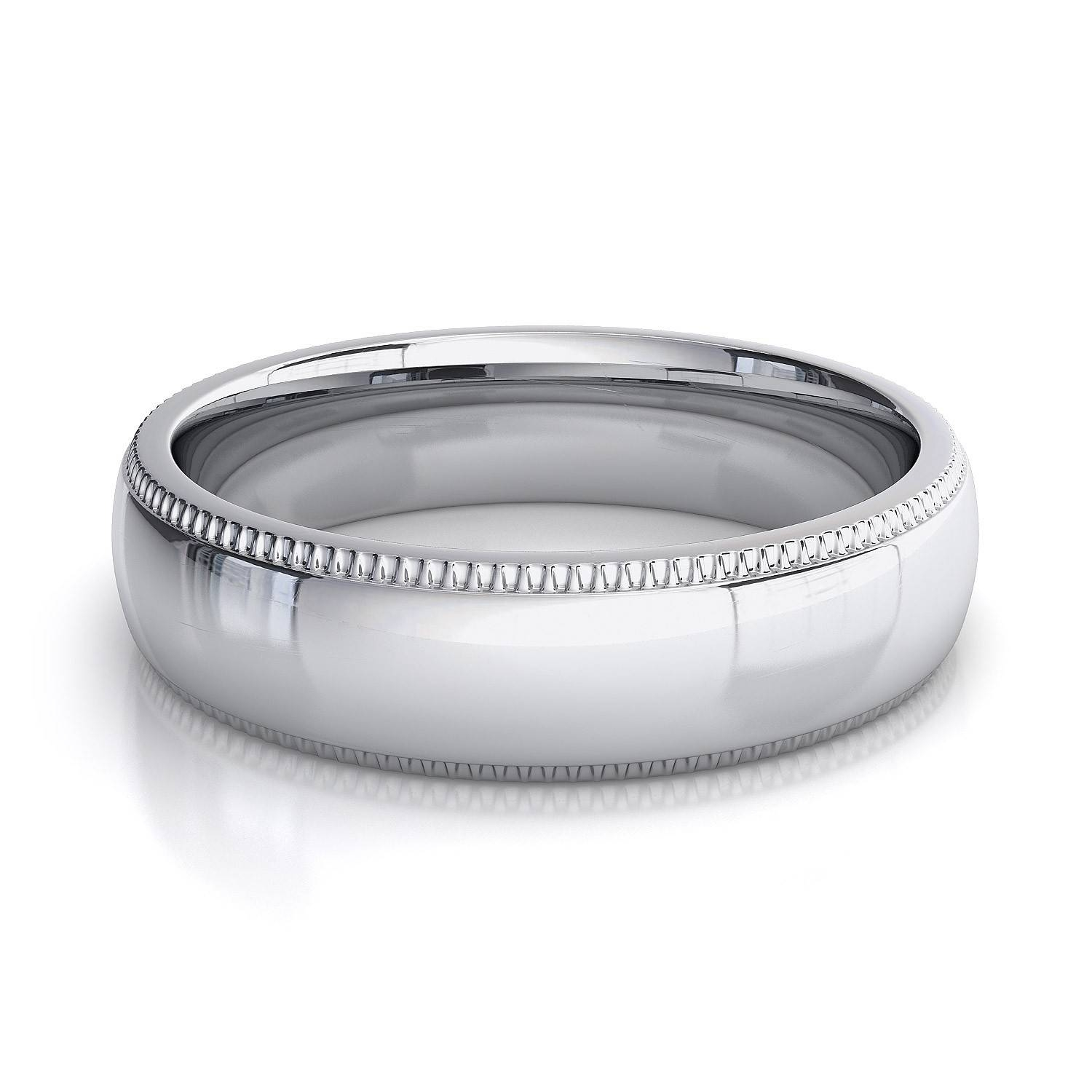 5Mm Milgrain Mens Plain Wedding Band In 14K White Gold In Mens White Gold Wedding Rings (View 4 of 15)