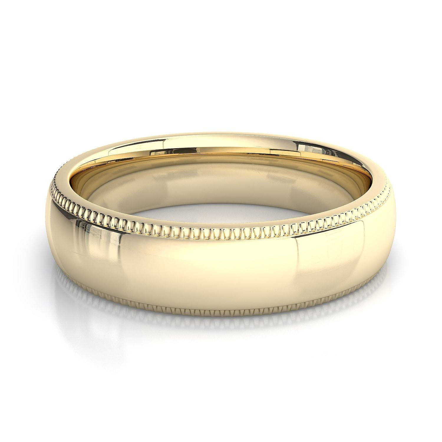 5Mm Milgrain Mens Plain Wedding Band In 14K Yellow Gold In Men Yellow Gold Wedding Bands (View 5 of 15)