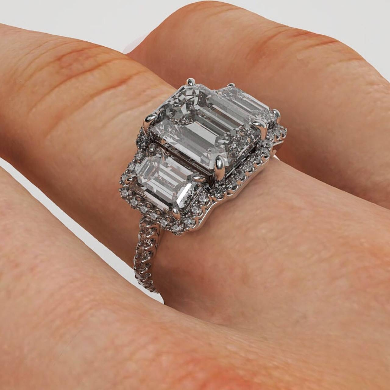 6.00 Carat Emerald Cut Three Stone Diamond Platinum Halo Ring At Regarding 3 Ct Emerald Cut Engagement Rings (Gallery 10 of 15)