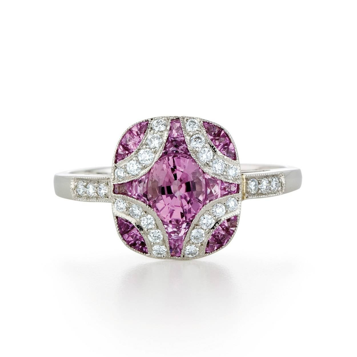 62 Diamond Engagement Rings Under $5,000 | Glamour In Pink Sapphire Engagement Rings With Diamonds (Gallery 9 of 15)
