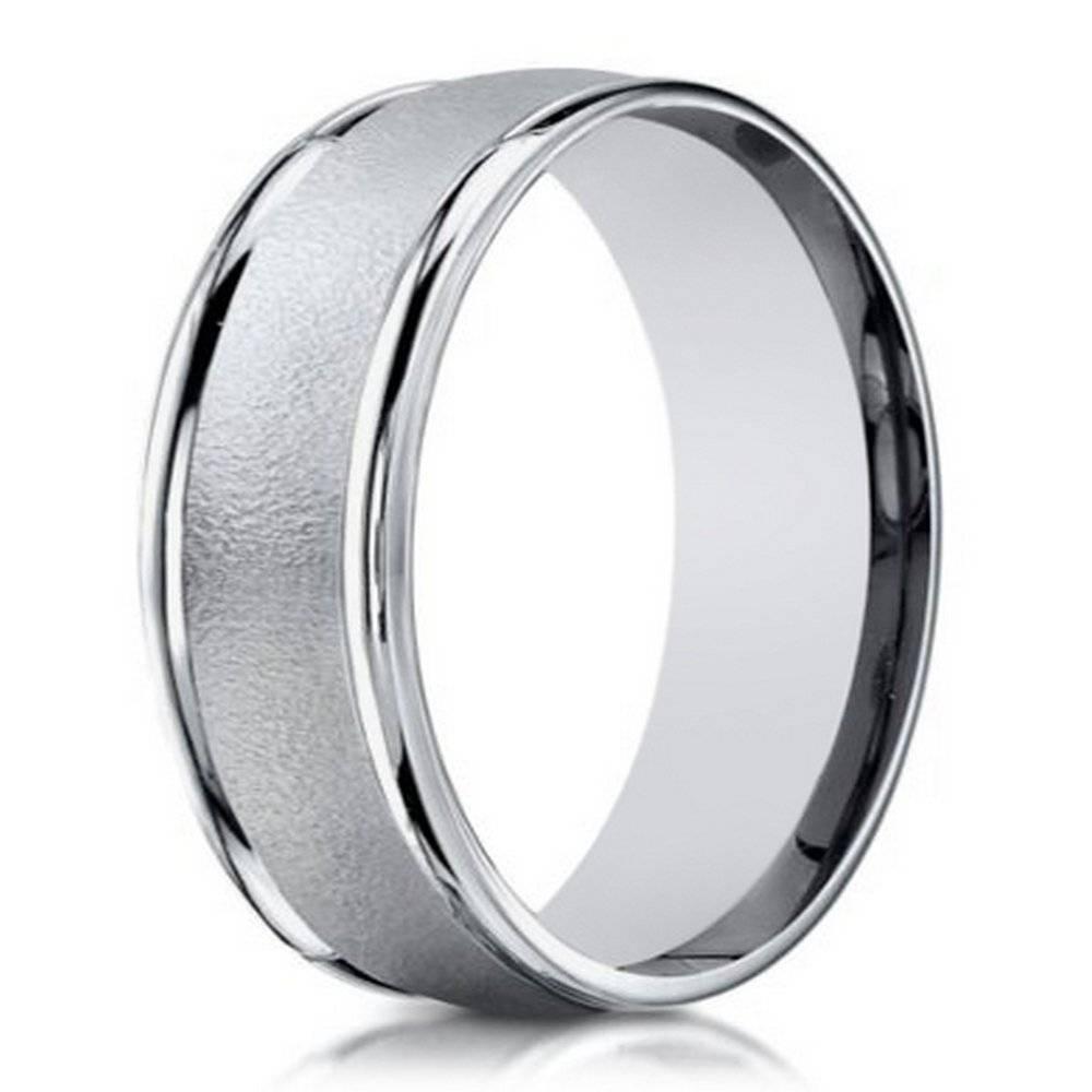 6Mm Men's Sand Blasted 18K White Gold Designer Wedding Band Regarding 6Mm White Gold Wedding Bands (View 2 of 15)