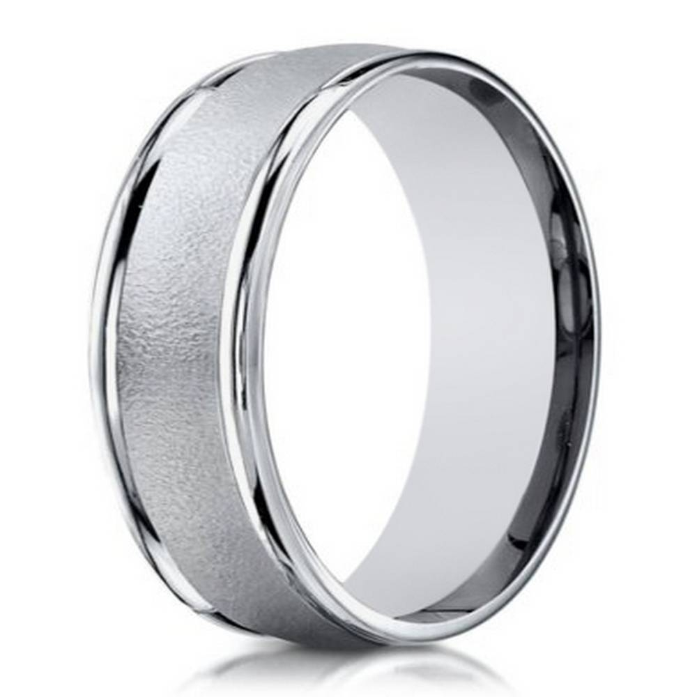 6Mm Men's Sand Blasted 18K White Gold Designer Wedding Band Regarding White Gold Wedding Bands Rings (View 8 of 15)