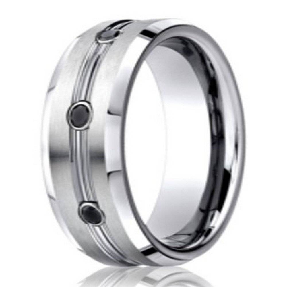 7.5Mm Benchmark Cobalt Chrome Men's Wedding Ring With Black With Black Gold Wedding Bands For Men (Gallery 15 of 15)