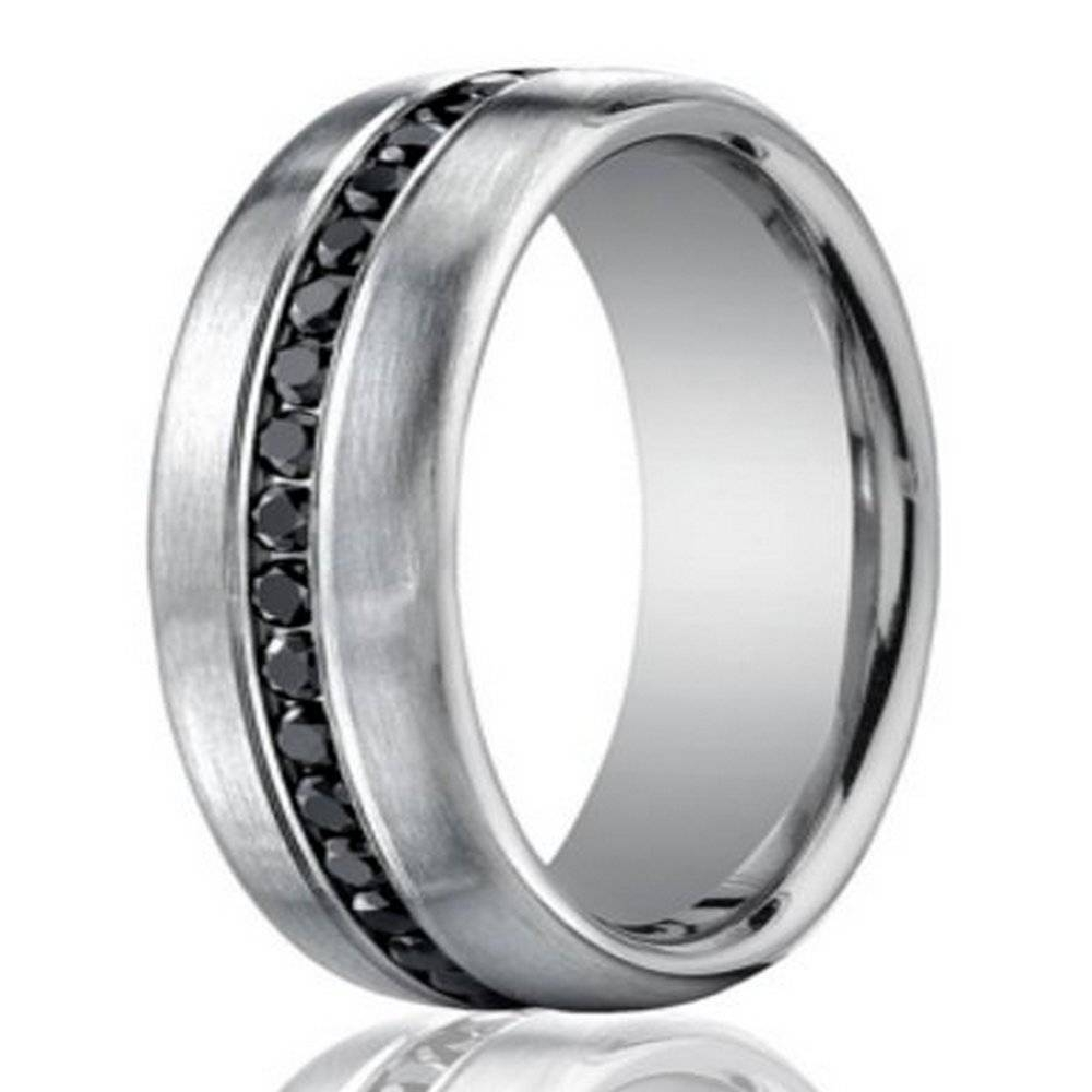 7.5Mm Men's 950 Platinum Black Diamond Eternity Wedding Band Pertaining To Most Recent Diamond Eternity Wedding Bands (Gallery 15 of 15)