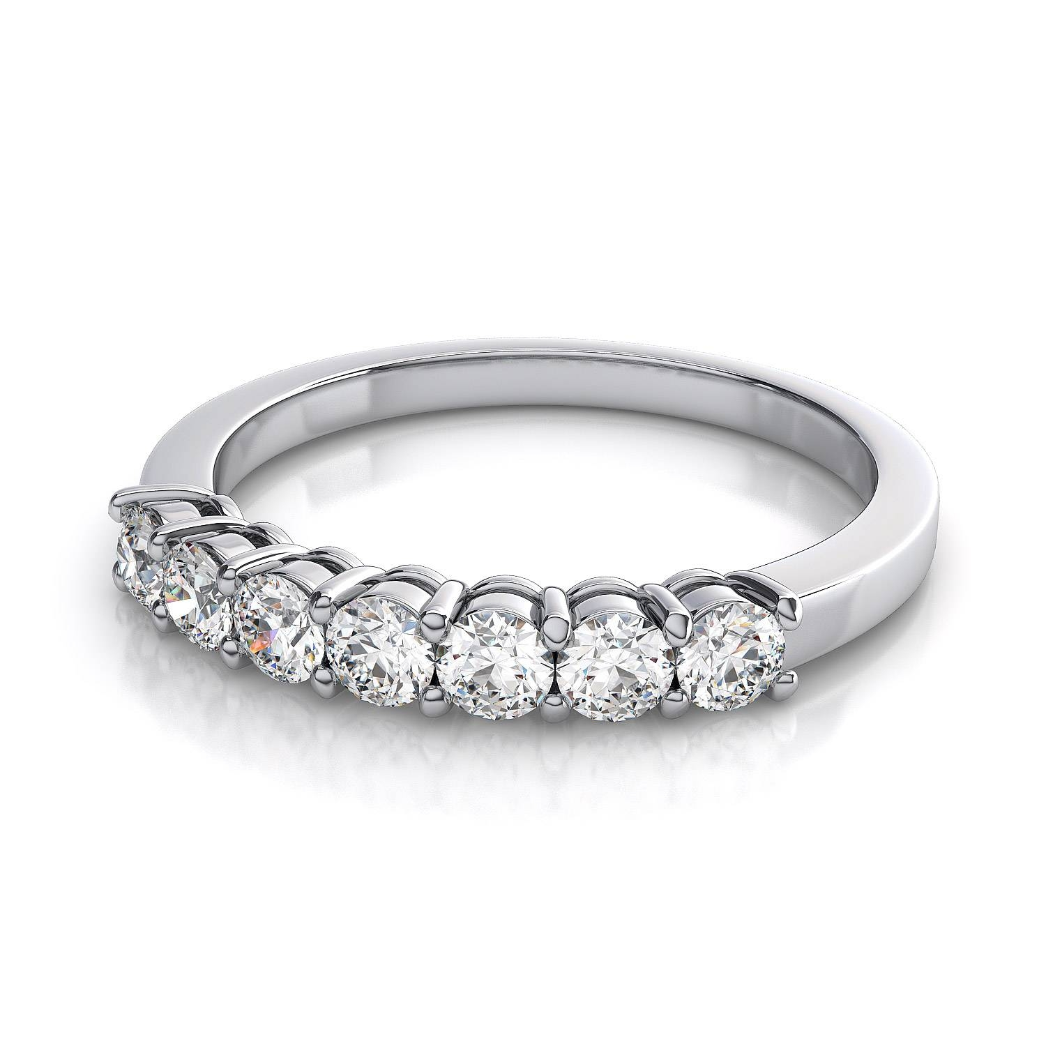 7 Stone Diamond Wedding Band In 18K White Gold Vs G H Regarding 7 Diamond Engagement Rings (View 2 of 15)