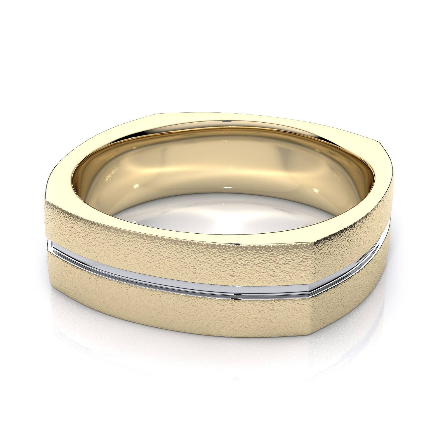 7Mm European Shank Two Tone Mens Plain Wedding Band In 14K Yellow Gold With Regard To Most Current European Wedding Bands (View 4 of 15)