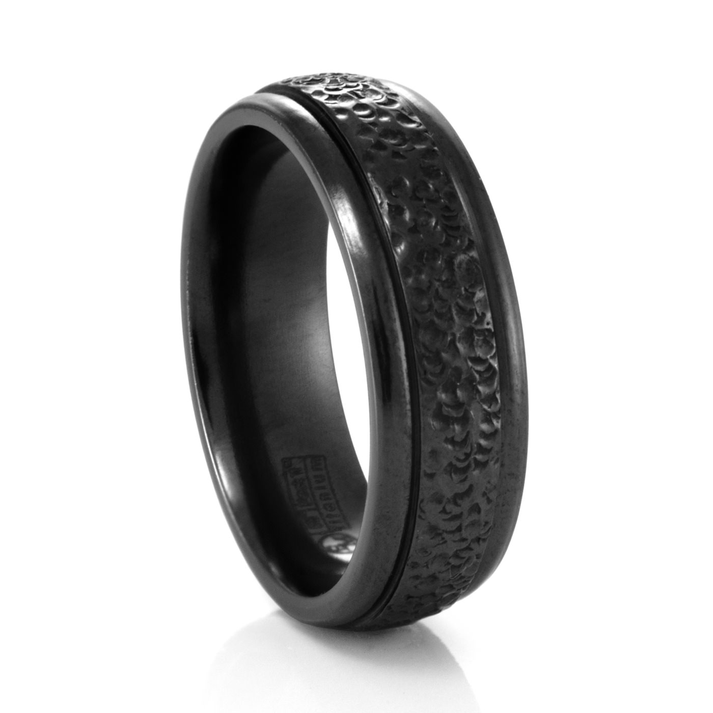 7mm Mens Hammered Finish Ring – Edward Mirell – Black Titanium Rings Pertaining To Titanium Wedding Bands For Him (View 15 of 15)