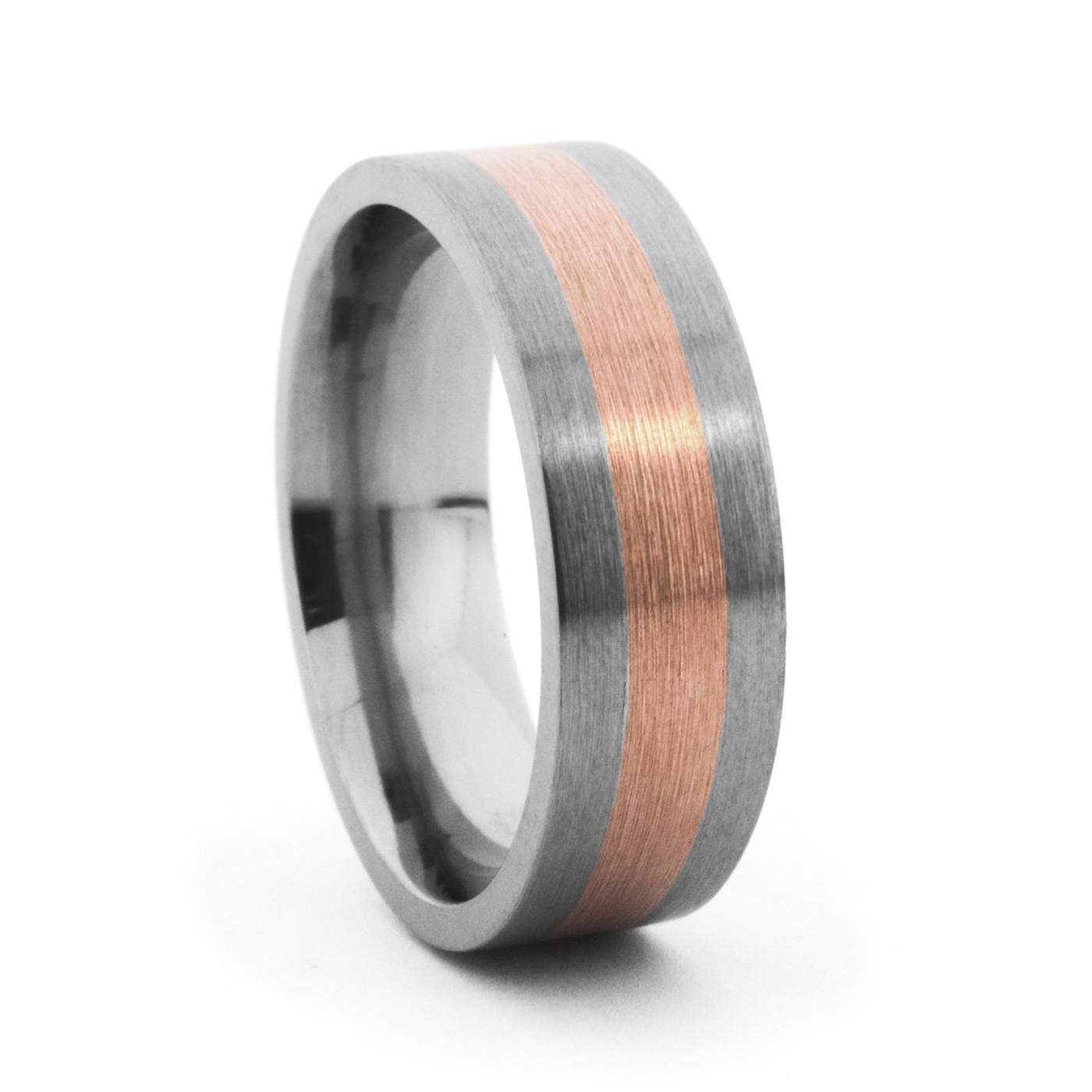 7Mm Titanium & Rose Gold Band – Lashbrook – Mens Titanium Rings With Regard To 7Mm Titanium Wedding Bands (View 2 of 15)