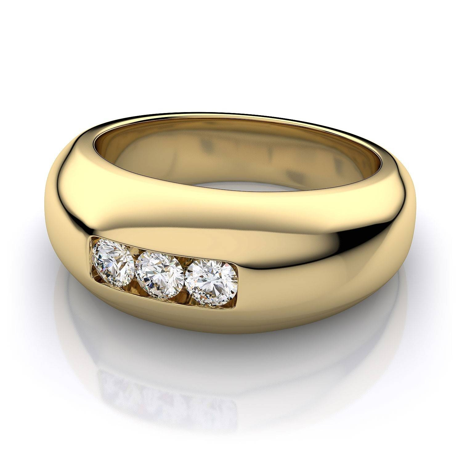 8.8Mm Channel Set Men's Round Diamond Wedding Ring In 14K Yellow Gold Regarding Most Recent Yellow Gold Channel Set Wedding Bands (Gallery 9 of 15)