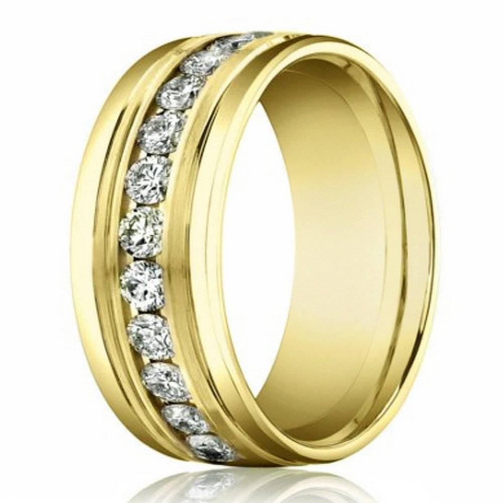 8Mm 14K Yellow Gold Men's Diamond Eternity Wedding Band Regarding Men Yellow Gold Wedding Bands (View 7 of 15)