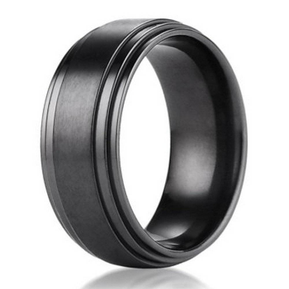 8Mm Benchmark Black Titanium Men's Wedding Ring With Step Down Intended For Titanium Wedding Bands For Men (View 1 of 15)