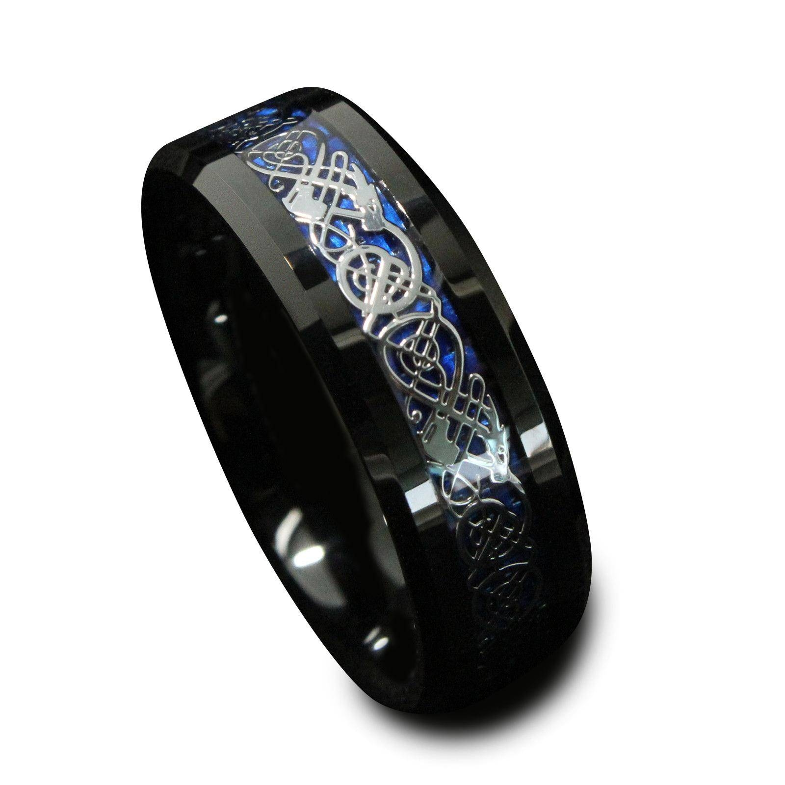 8Mm Black Tungsten Carbide Engagement Ring Silvering Celtic Dragon Inside Carbon Wedding Bands (Gallery 7 of 15)