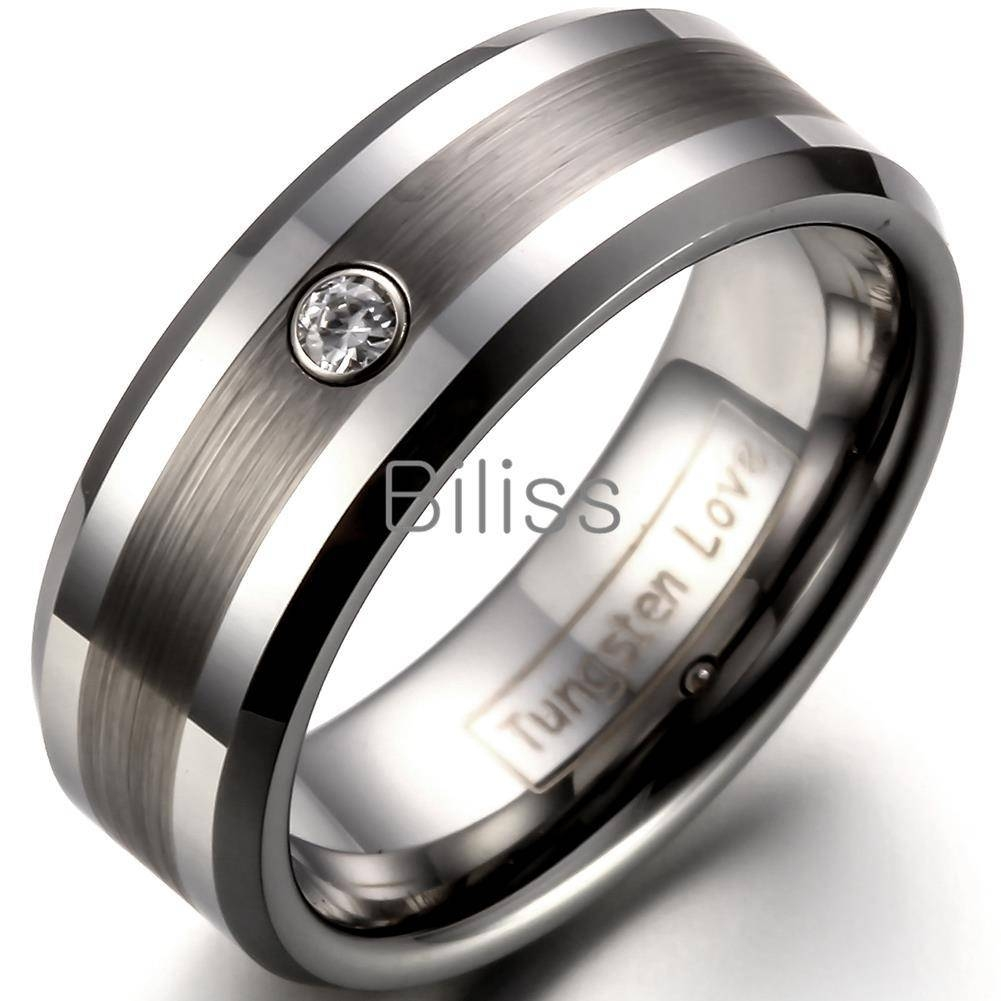 8Mm Comfort Fit Tungsten Carbide Ring For Men Wedding Bands Ring Regarding Mens Wedding Bands Comfort Fit (View 3 of 15)