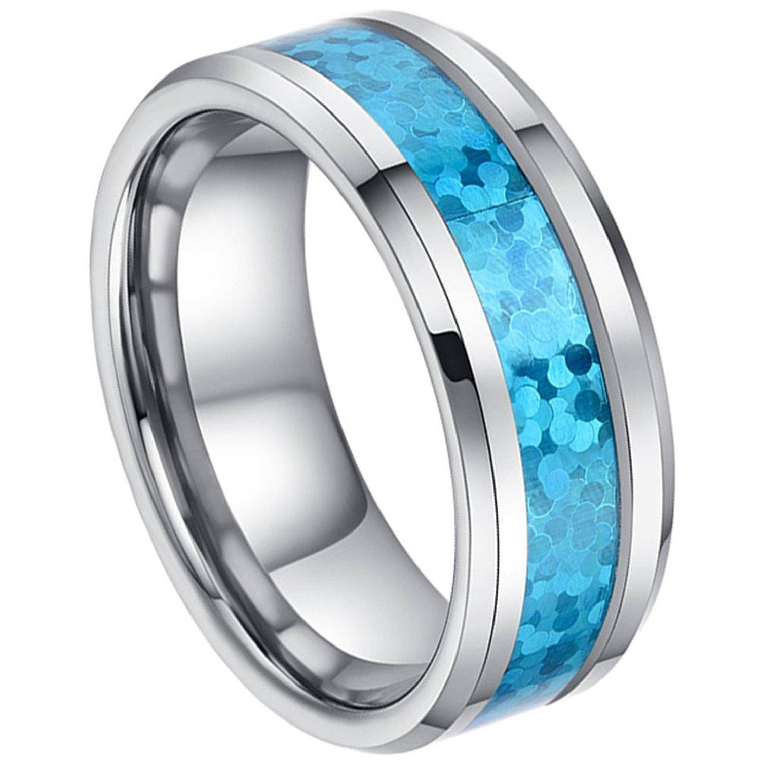 8Mm Man Or Ladies Tungsten Carbide Beveled Edge Hawaiian Blue Opal Within Blue Wedding Bands For Men (Gallery 6 of 15)