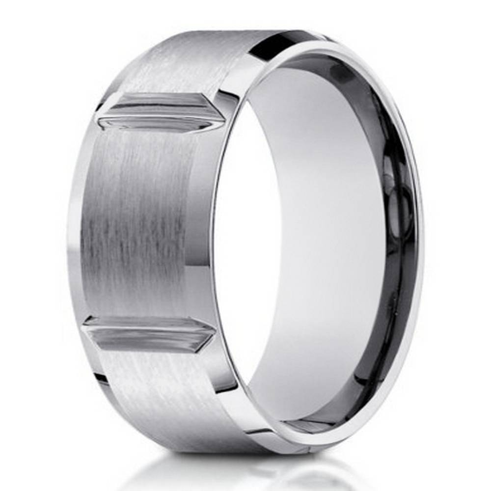 8Mm Men's 14K White Gold Ring W/ Polished Grooves | Justmensrings With Regard To 8Mm White Gold Wedding Bands (View 4 of 15)