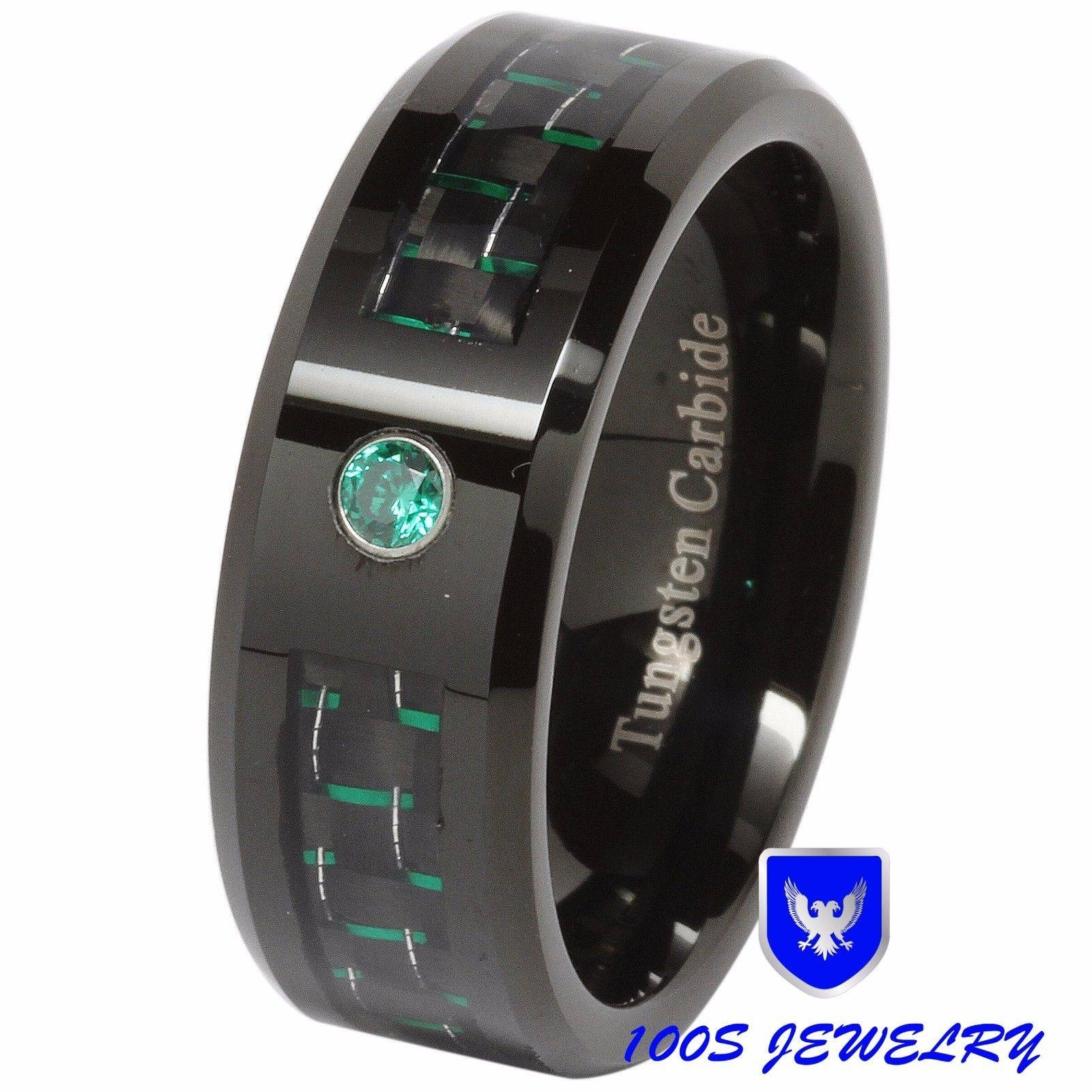8Mm Tungsten Ring Green Diamond Carbon Fiber Inlay Mens Wedding With Regard To Carbon Wedding Bands (Gallery 9 of 15)
