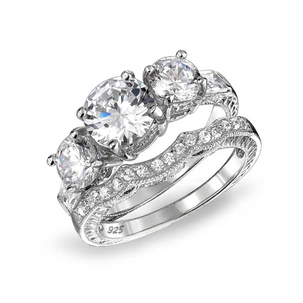925 Sterling Cz Three Stone Wedding Engagement Ring Set Vintage With Regard To Jewelry Wedding Bands (View 5 of 15)