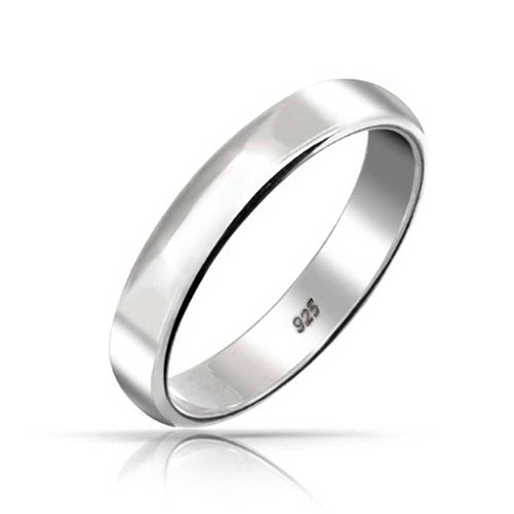 925 Sterling Silver Unisex Wedding Band Ring 4mm Inside Plain Mens Wedding Bands (View 10 of 15)