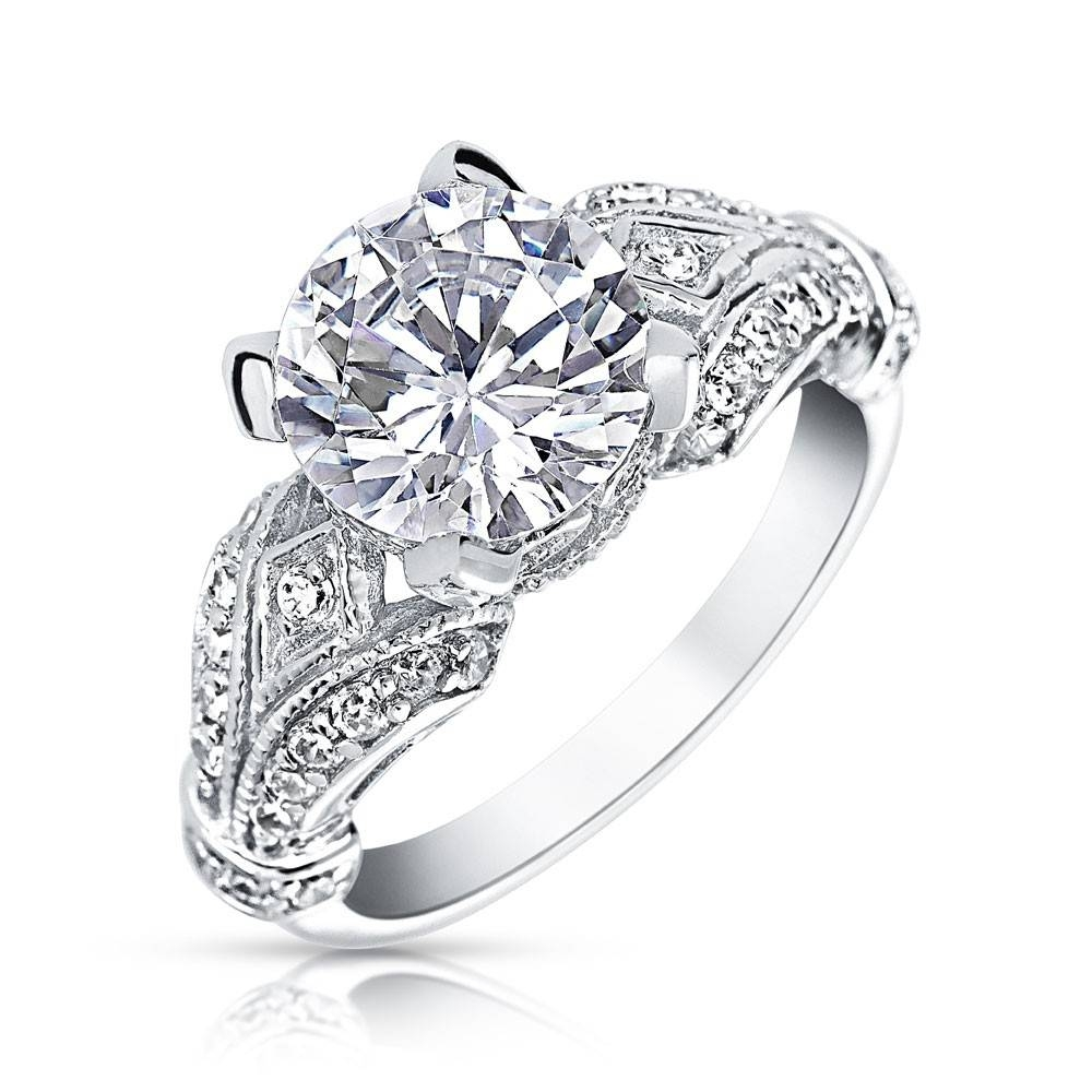 925 Sterling Silver Victorian 3Ct Cz Solitaire Engagement Ring With Regard To Victorian Engagement Rings (Gallery 10 of 15)