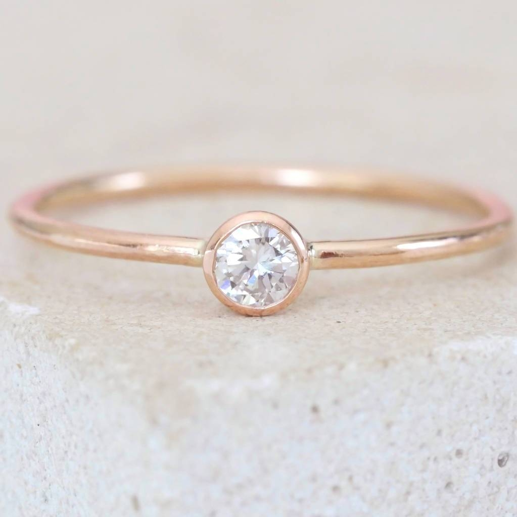 9Ct Rose Gold Dainty Diamond Engagement Ringbeetroot London Intended For London Gold Engagement Rings (Gallery 1 of 15)