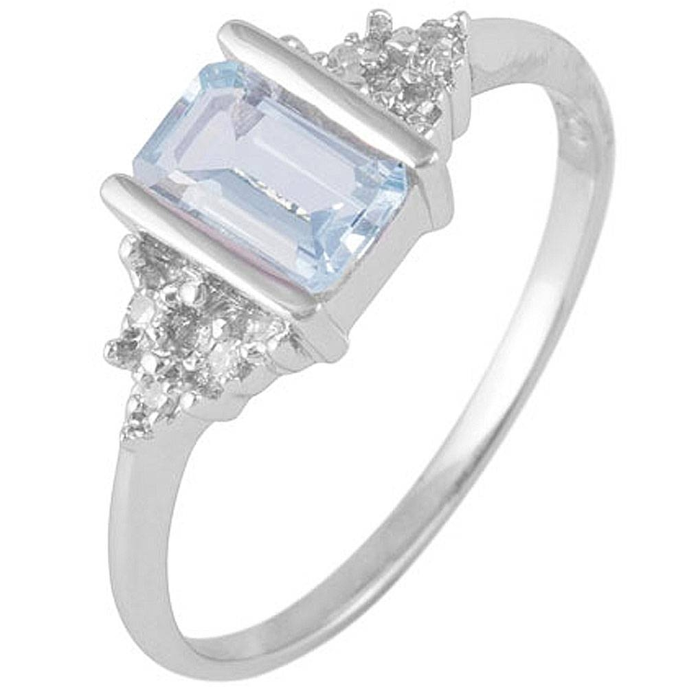 9Ct White Gold Aquamarine & Diamond Engagement Ring – Jewellery Regarding Diamond Aquamarine Engagement Rings (View 3 of 15)