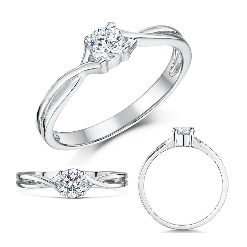9Ct White Gold Third Carat Diamond Solitaire Crossover Engagement Inside Crossover Engagement Rings (View 2 of 15)