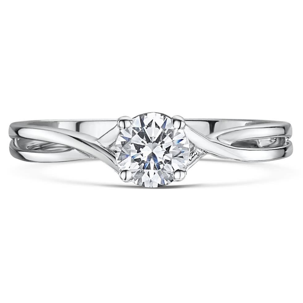 9Ct White Gold Third Carat Diamond Solitaire Crossover Engagement Pertaining To Crossover Engagement Rings (View 3 of 15)
