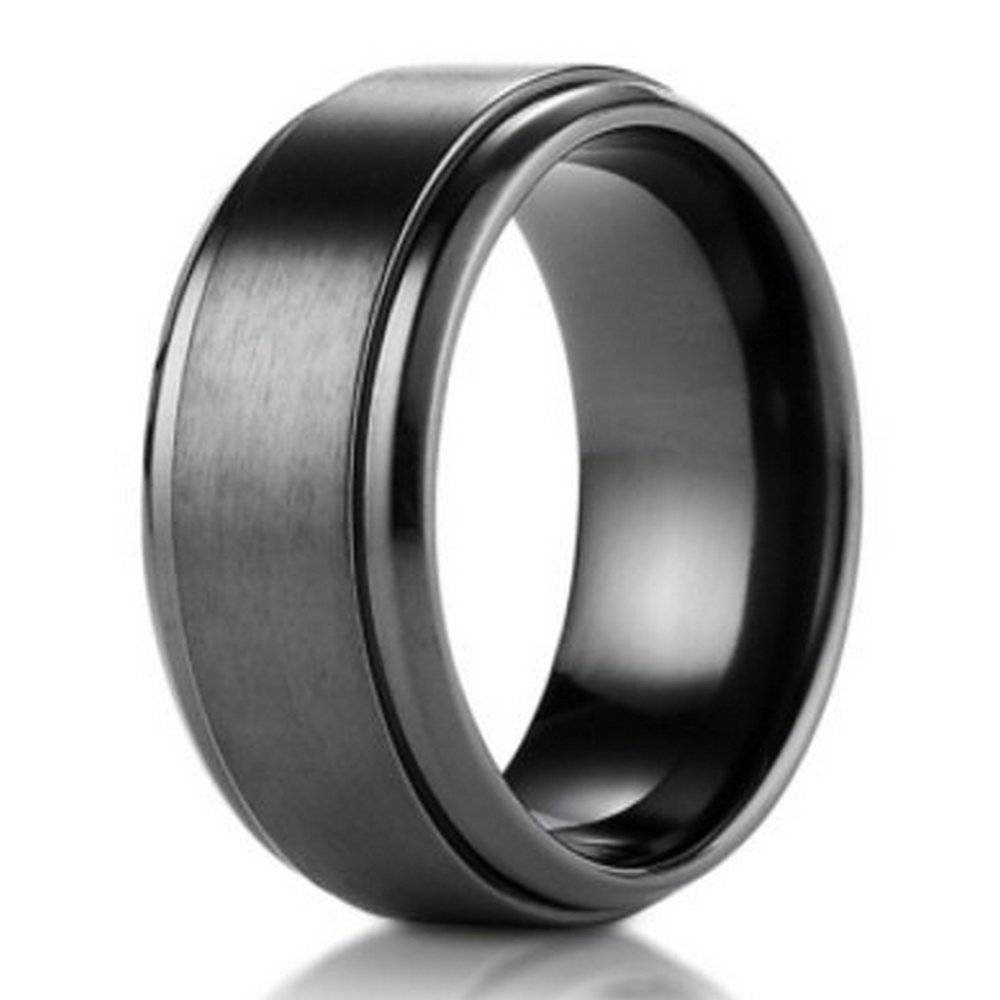 9mm Black Titanium Benchmark Men's Wedding Ring With Stair Step For Black Titanium Mens Wedding Rings (View 7 of 15)