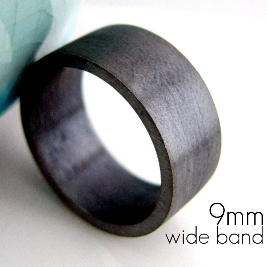 9Mm Wedding Band Black Gold Plated Over 925 Silver In Dark Metal Mens Wedding Bands (View 4 of 15)