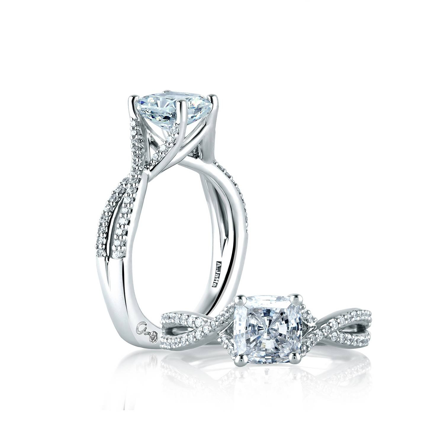 A. Jaffe Criss Crossover Cushion Cut Engagement Ring Inside Crossover Engagement Rings (Gallery 5 of 15)