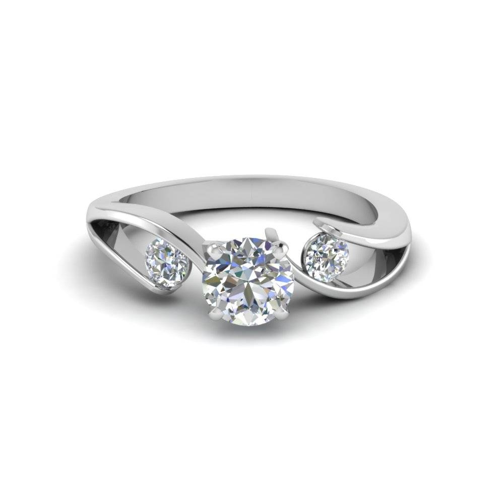 Affordable 14K White Gold Three Stone Engagement Rings Within White Gold And Diamond Engagement Rings (View 5 of 15)