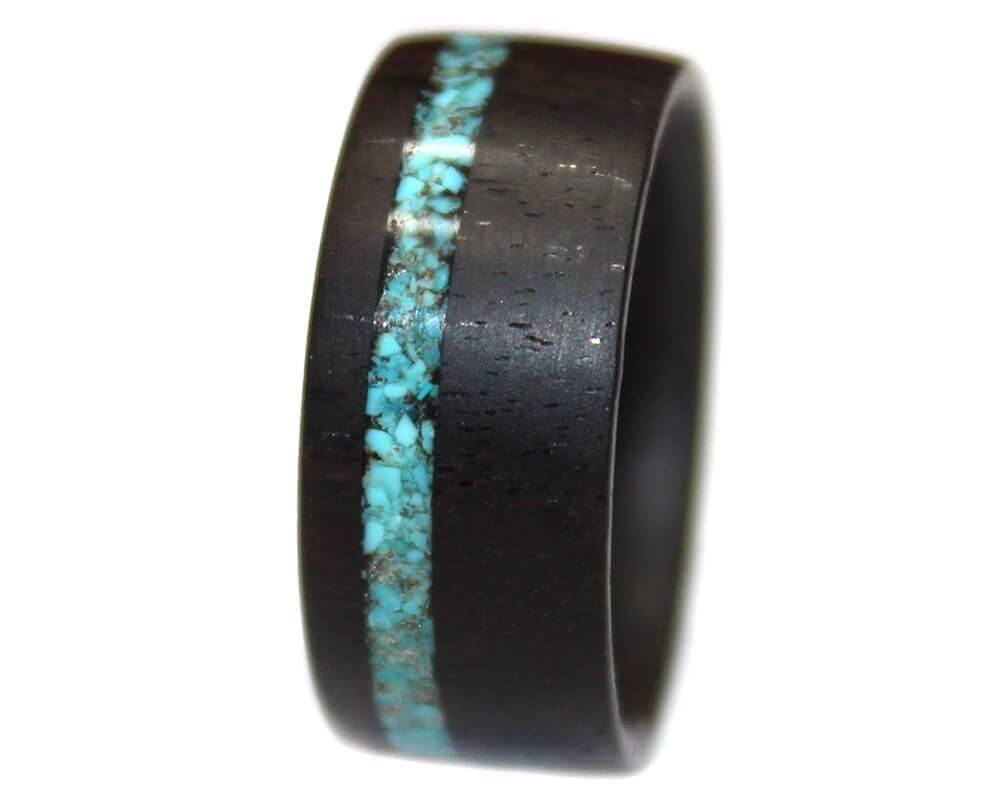 African Blackwood Turquoise Inlay – Wooden Rings In Wood Inlay Wedding Rings (View 7 of 15)