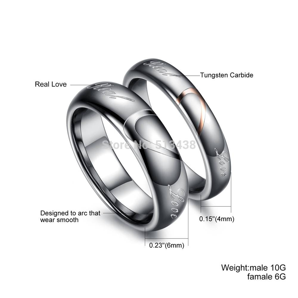 Aliexpress : Buy Choose Wife Husband Couple Love Heart Regarding Most Recent Husband Wedding Bands (View 3 of 15)