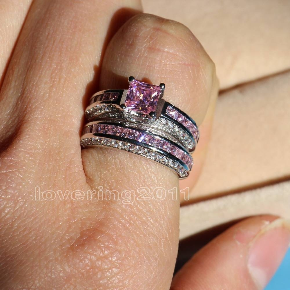 Aliexpress : Buy Choucong Princess Cut Pink Stone 5A Zircon Throughout Current Pink Sapphire Diamond Wedding Bands (View 4 of 15)