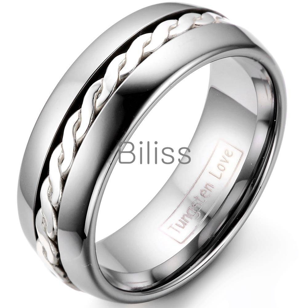 Aliexpress : Buy Fashion Mens Women Woven Silver Inlay High Intended For Tungsten Carbide Womens Wedding Rings (View 1 of 15)