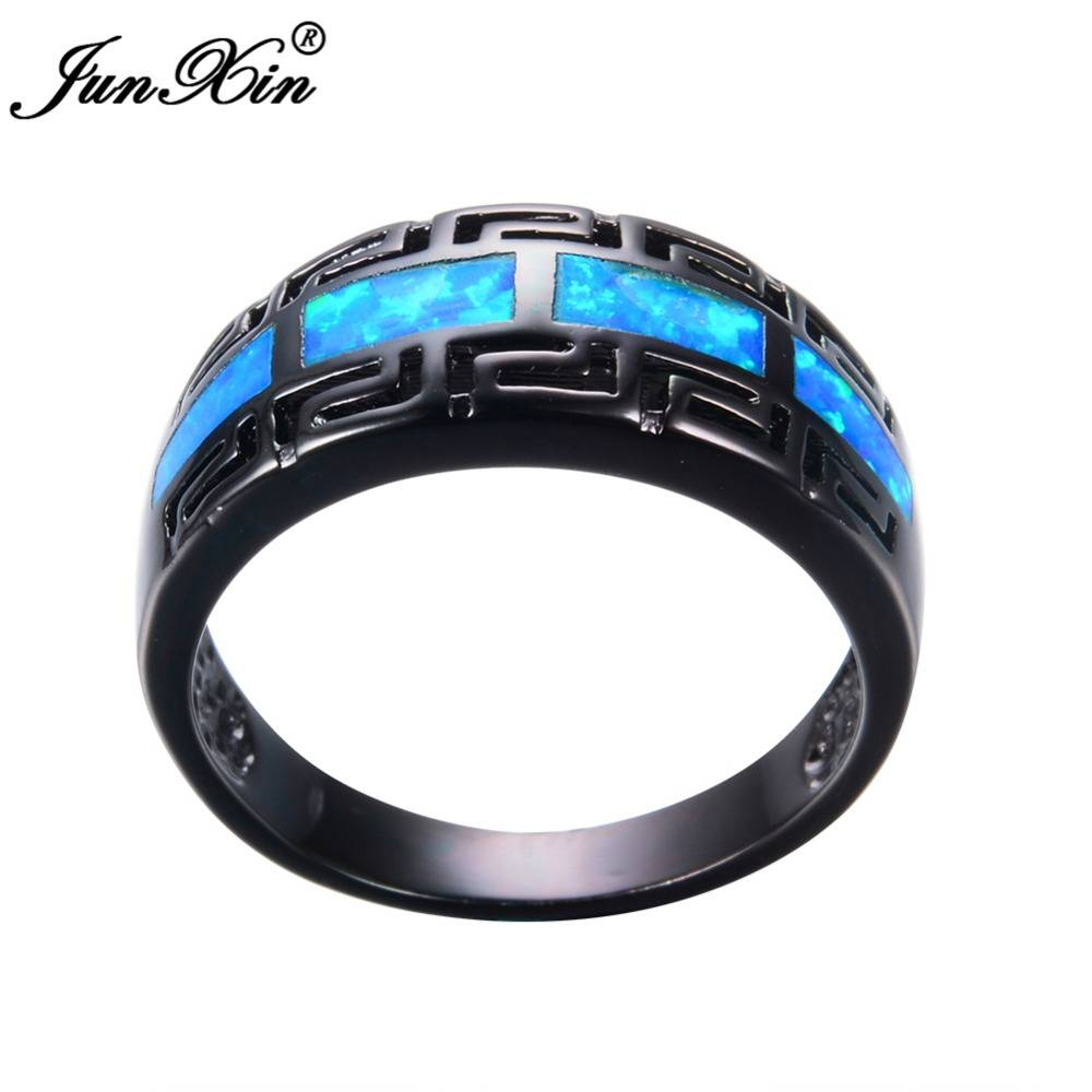 Aliexpress : Buy Junxin Male Female Blue Fire Opal Ring Black With Blue Wedding Bands For Men (View 10 of 15)