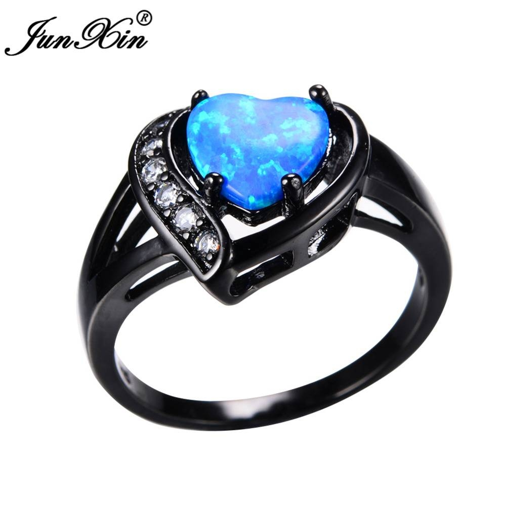Aliexpress : Buy Junxin Women Blue Fire Opal Heart Ring With Pertaining To Blue Heart Engagement Rings (View 11 of 15)