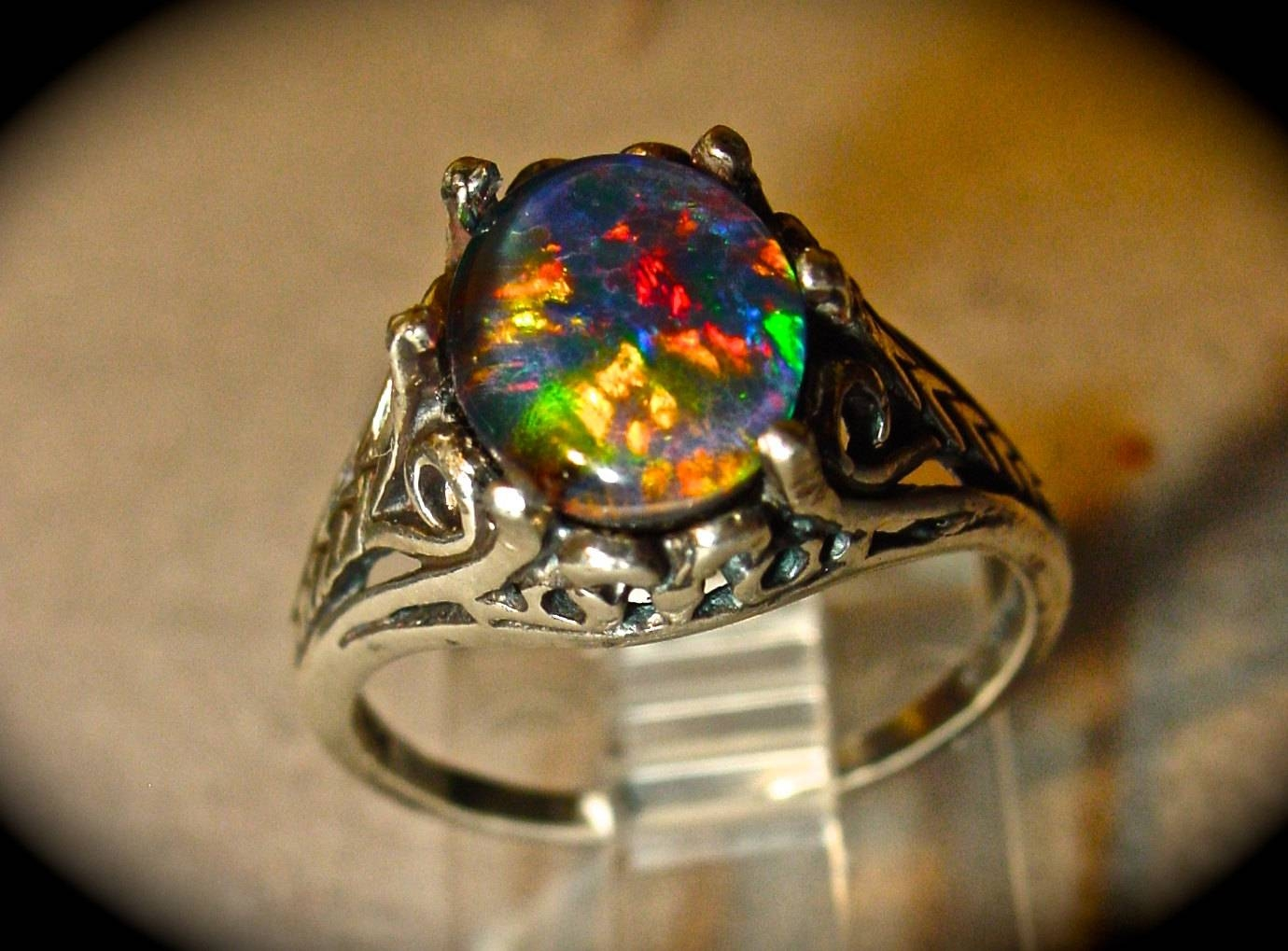 Antique Filigree Style Opal Engagement Ring (View 2 of 15)