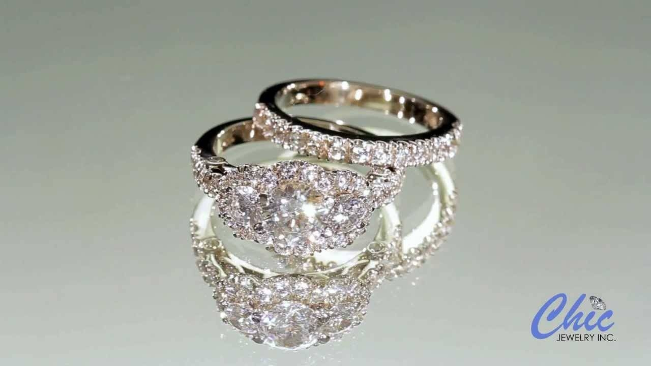 Antique Style Cubic Zirconia Engagement Ring Set In 14K White Gold In Platinum Cubic Zirconia Wedding Rings (Gallery 1 of 15)