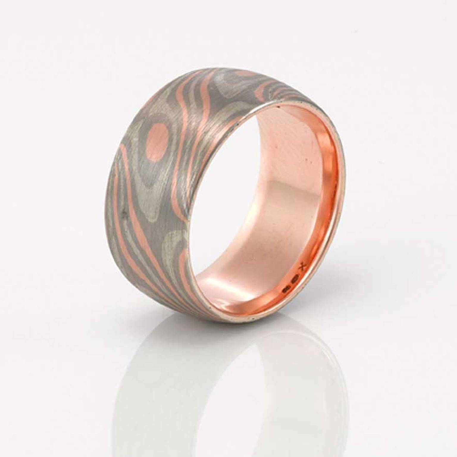 Apollo Men's Wedding Ring In Rose Gold, Palladium And Silver Inside Silver And Gold Mens Wedding Bands (View 7 of 15)