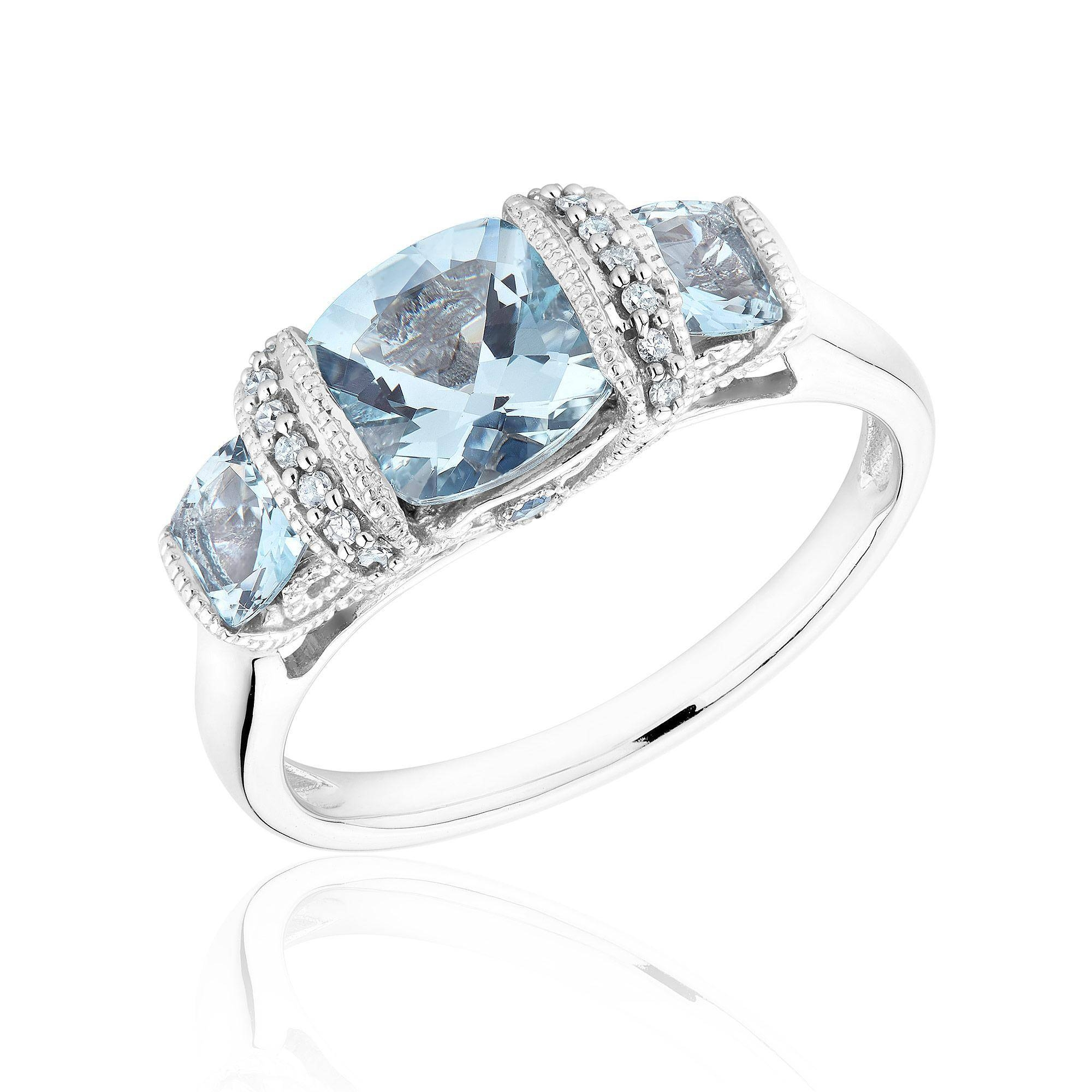 Aquamarine, Blue Sapphire And Diamond Three Stone Ring 1/20Ctw Within Diamond Aquamarine Engagement Rings (View 3 of 15)