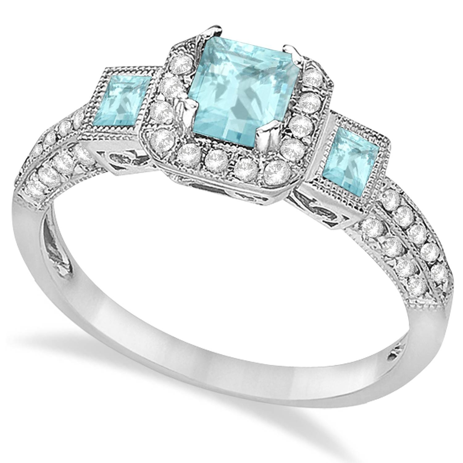 Aquamarine & Diamond Engagement Ring 14K White Gold (View 2 of 15)