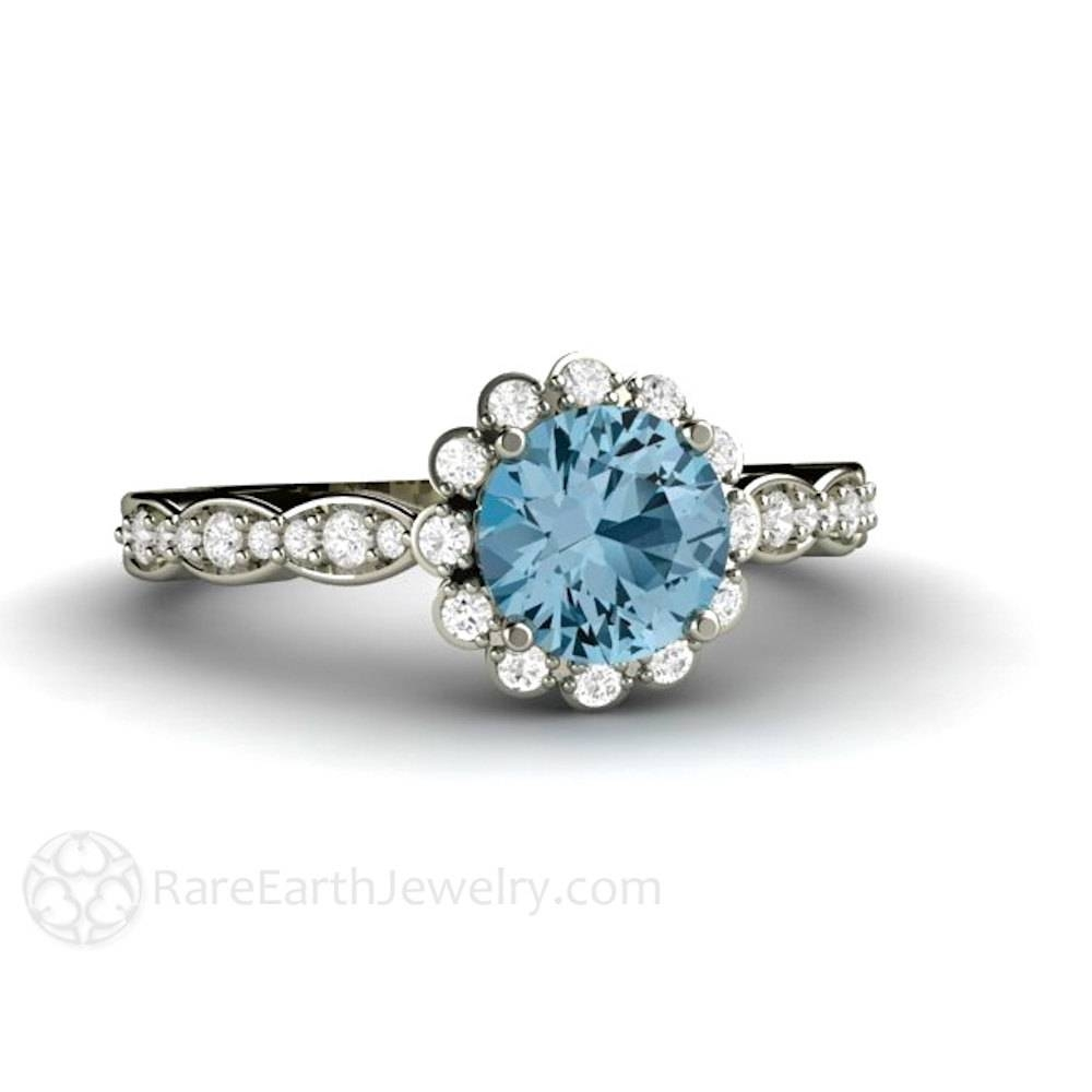 Aquamarine Engagement Ring Aquamarine Ring Diamond Halo Aqua Regarding Diamond Aquamarine Engagement Rings (Gallery 13 of 15)
