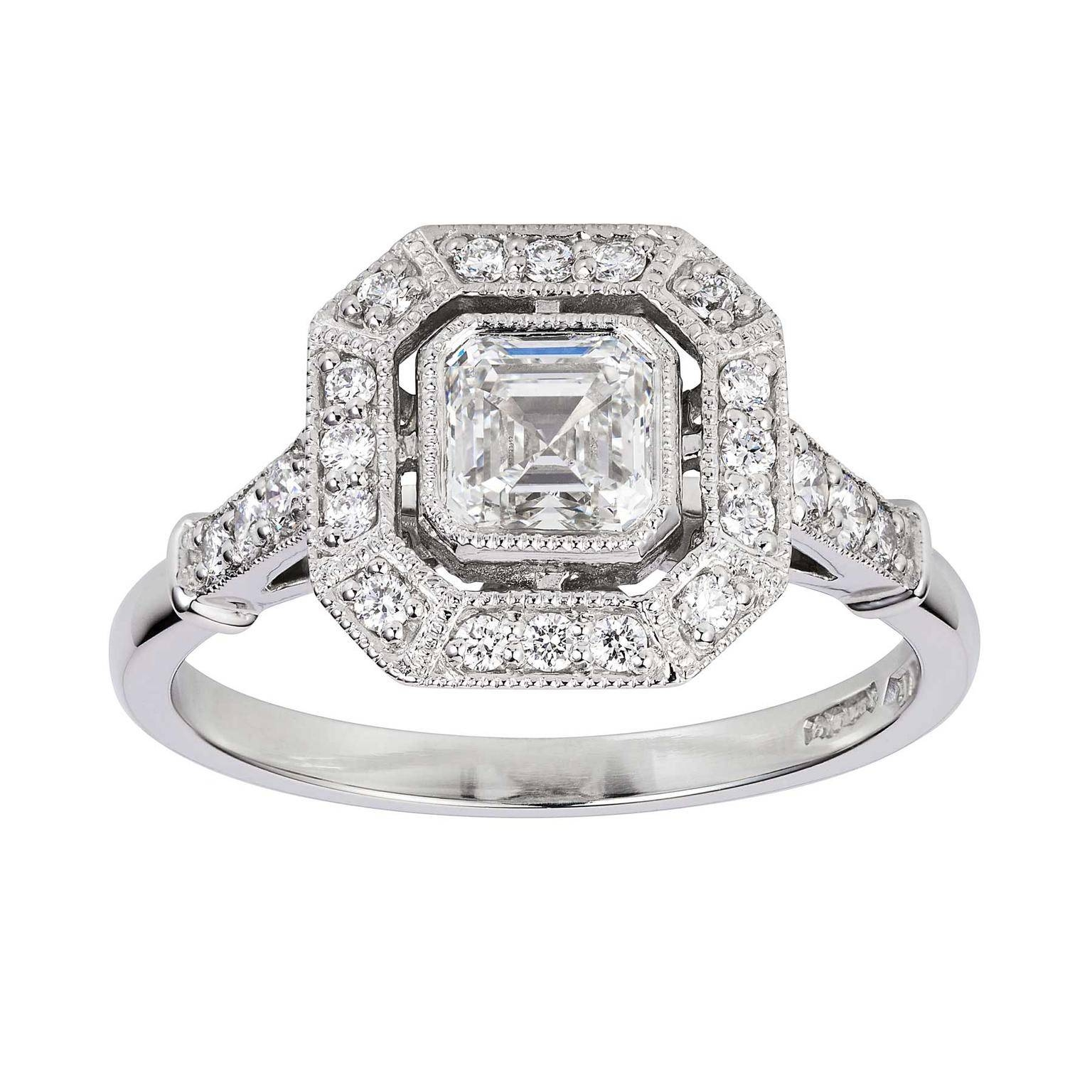 Art Deco Asscher Cut Diamond Engagement Ring | London Victorian For Asscher Diamond Engagement Rings (View 7 of 15)