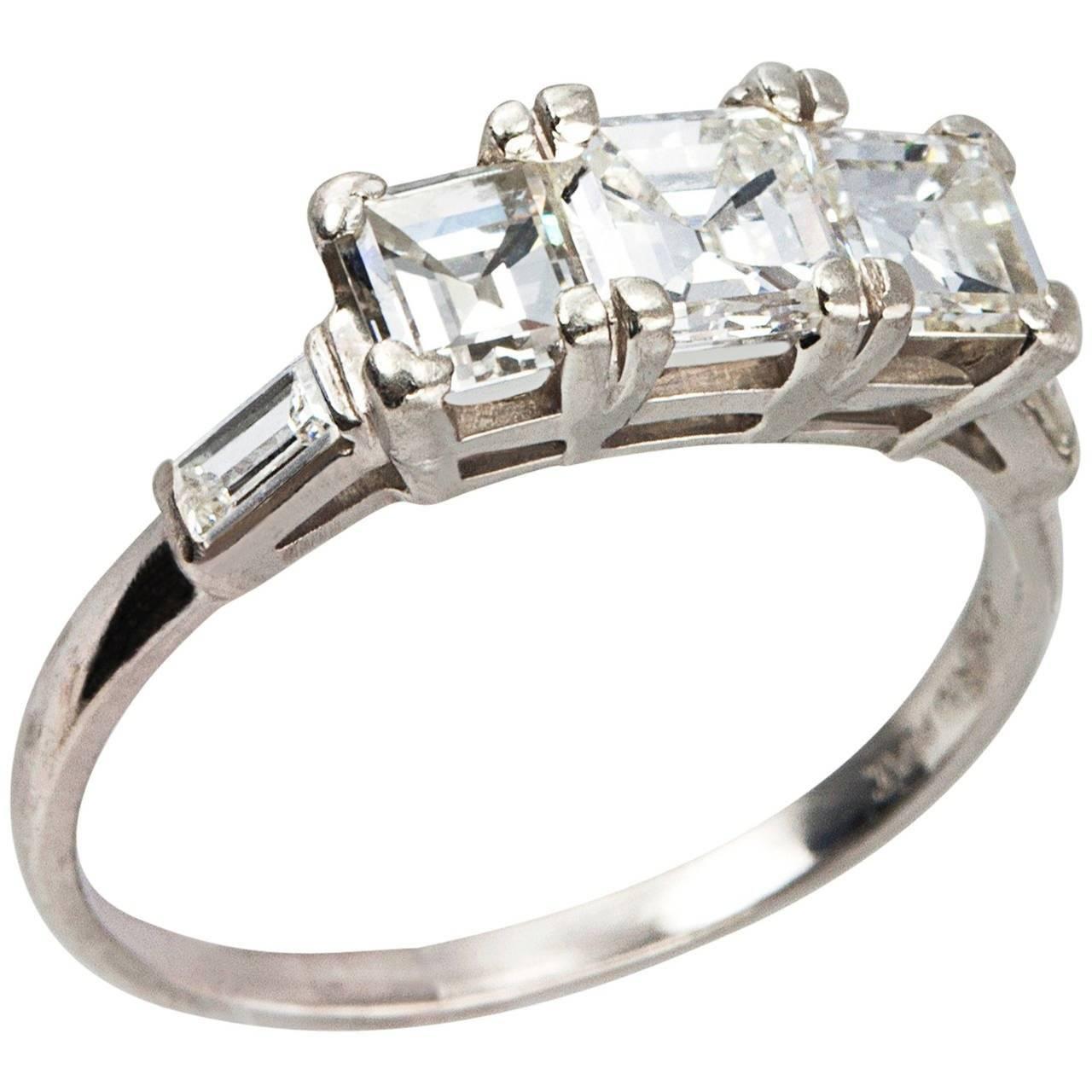 Art Deco Square Emerald Cut Diamond Platinum Three Stone Ring For For Emerald Cut Three Stone Diamond Engagement Rings (View 13 of 15)
