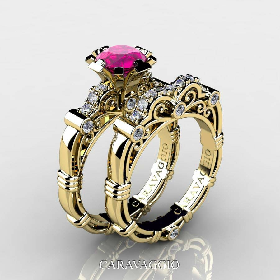 Art Masters Caravaggio 14K Yellow Gold 1.0 Ct Pink Sapphire Pertaining To Current Pink Sapphire Diamond Wedding Bands (Gallery 9 of 15)