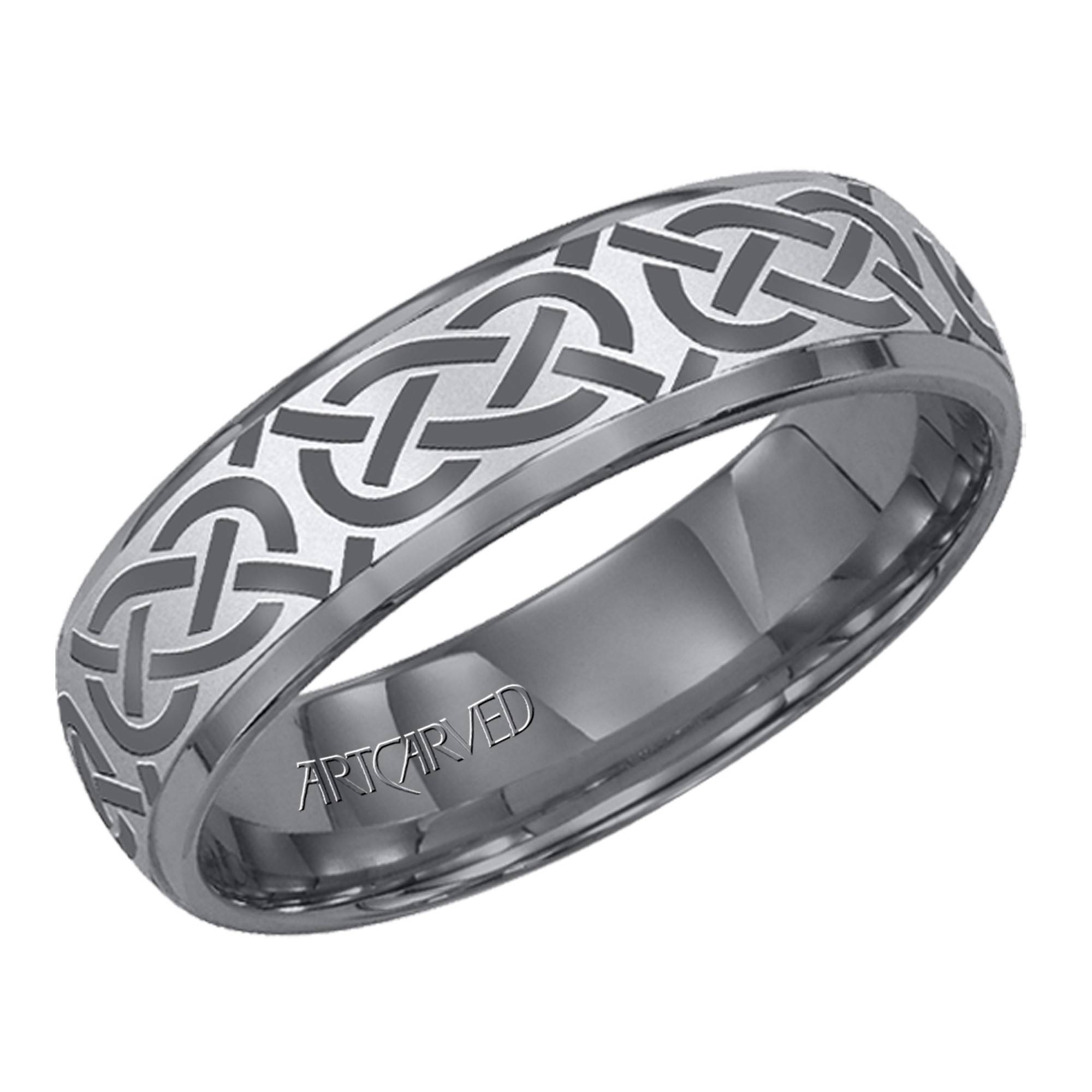 Artcarved Grecian Mens Carved Wedding Band In Tungsten Carbide (6Mm) Inside Carved Wedding Bands (View 2 of 15)