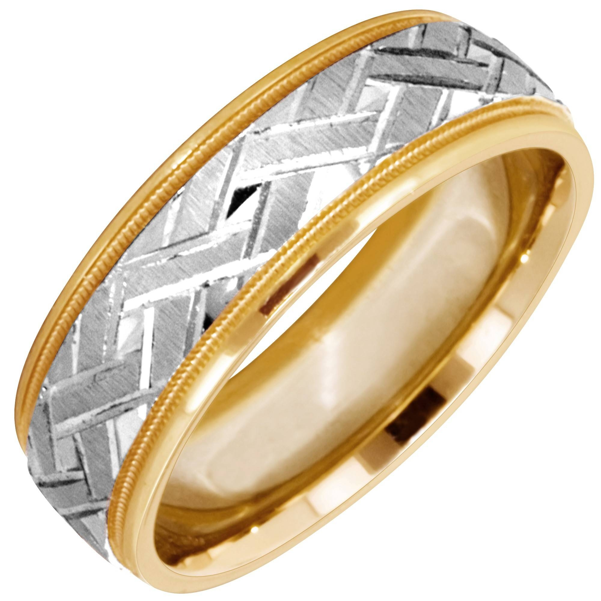 Artcarved Intrigue Mens Wedding Band In 14Kt Yellow And White Gold For White Gold Men Wedding Rings (View 12 of 15)