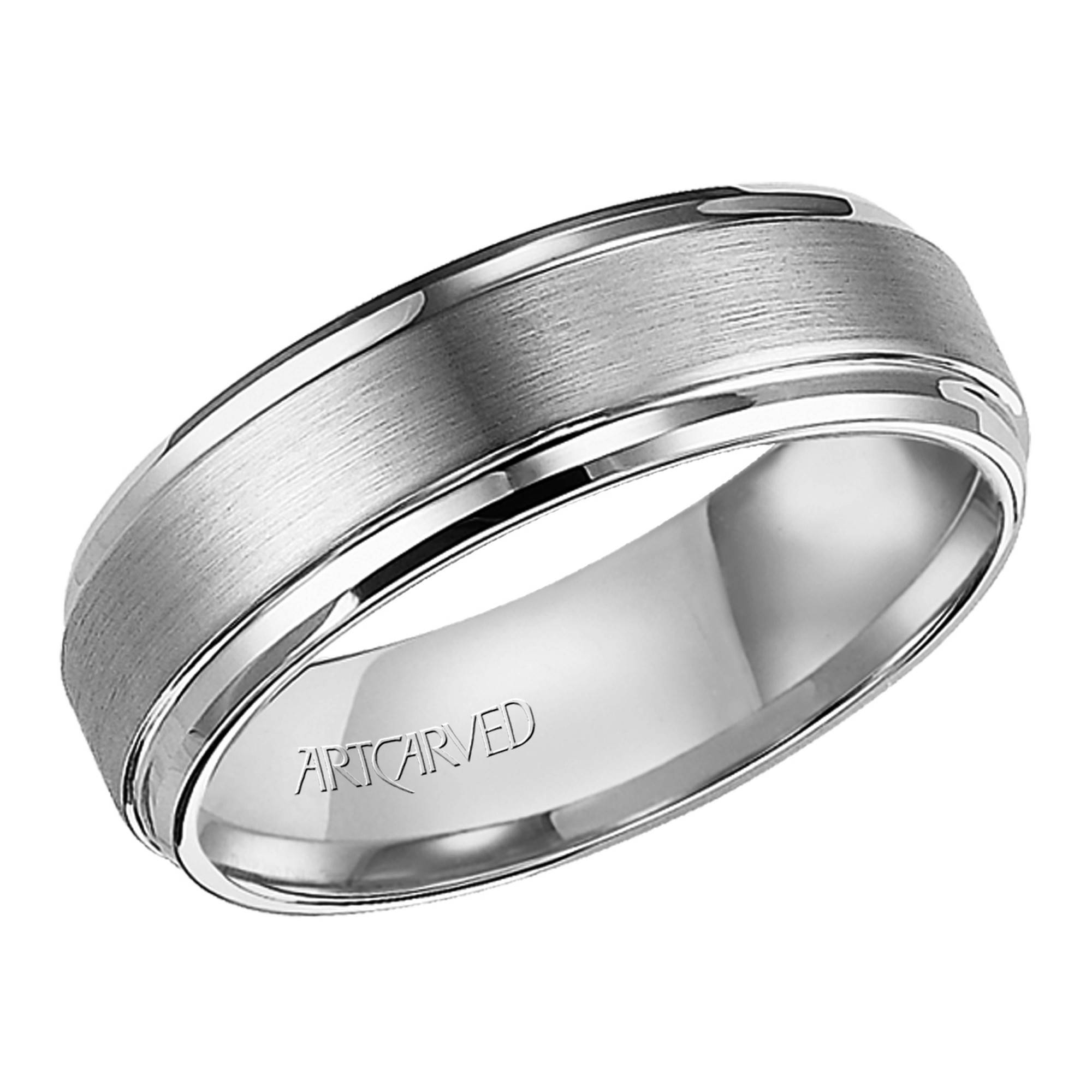 Artcarved Mens Exquisite Carved Wedding Band In Tungsten Carbide (7mm) In 7mm Titanium Wedding Bands (Gallery 7 of 15)